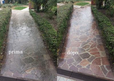 marciapiede esterno prima e dopo il lavaggioa