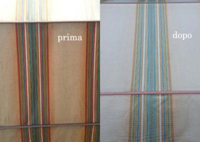 particolare tenda prima e dopo il lavaggio effettuato da Pulicasa