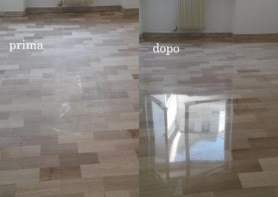pavimento in marmo prima e dopo la lucidatura