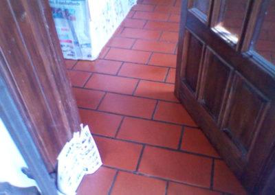 risultato del trattamento con cera al pavimento in cotto