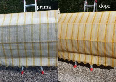tenda da sole prima e dopo il lavaggio effettuato da Pulicasa
